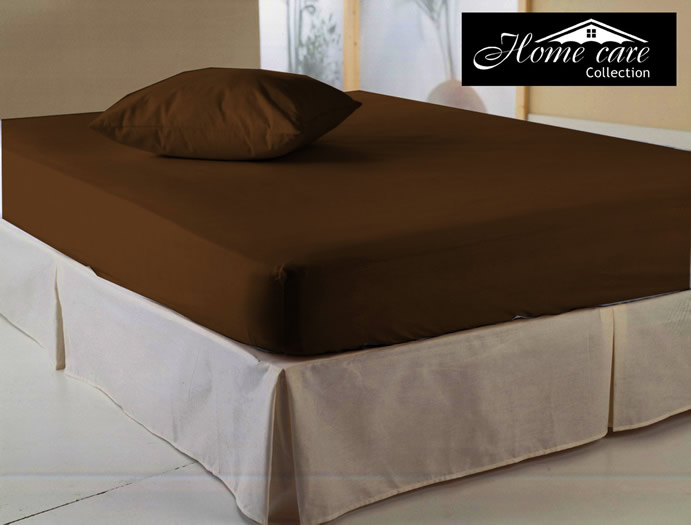 Hoeslaken, Home Care, Boxspring, Dubbel Jersey, Bruin (2-persoons/Lits-Jumeaux XL)