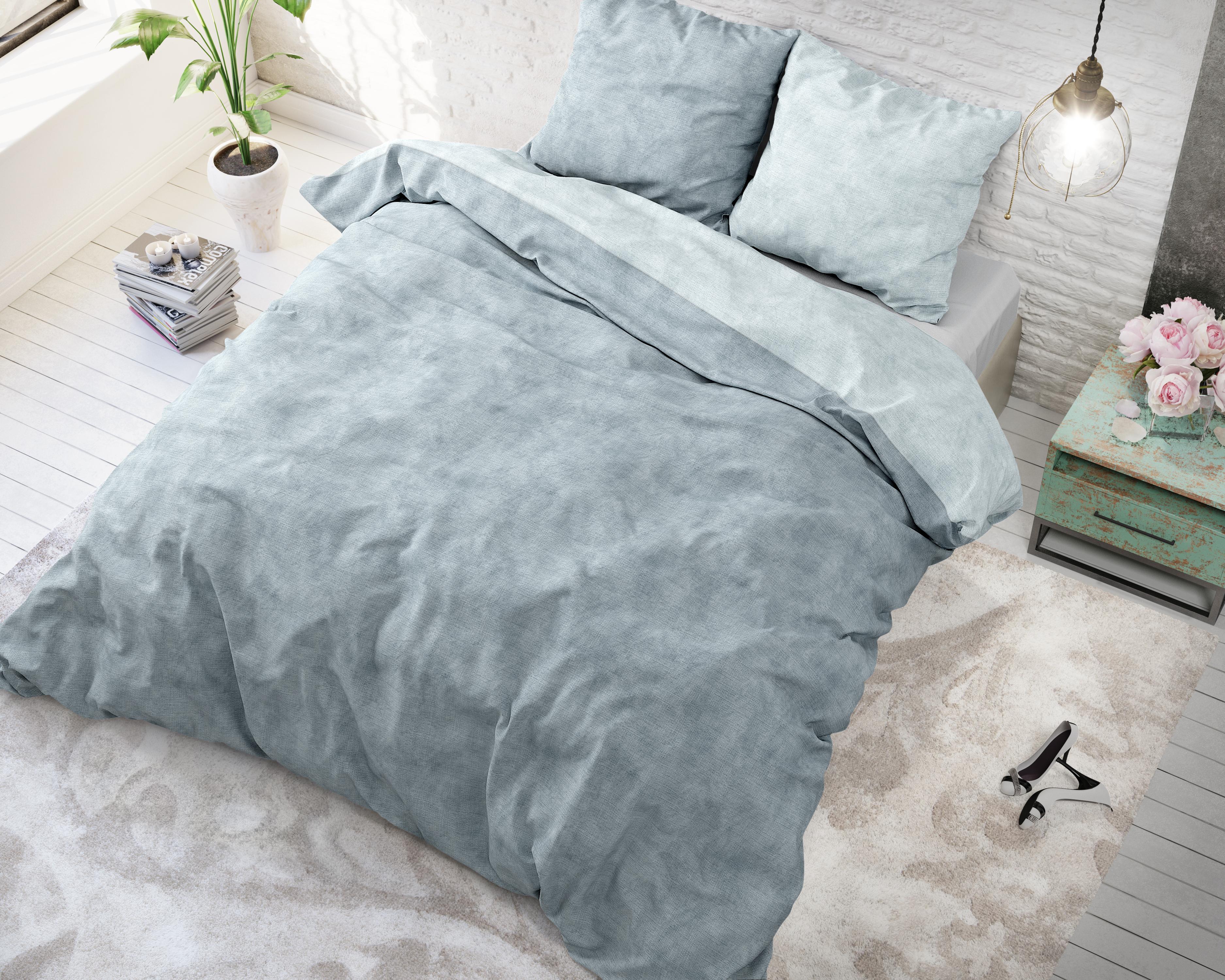 Dekbedovertrek Sleeptime Flanel Twin Washed Cotton Blue