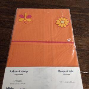 Jollein Ledikantlaken en Sloop (100x150 cm) oranje