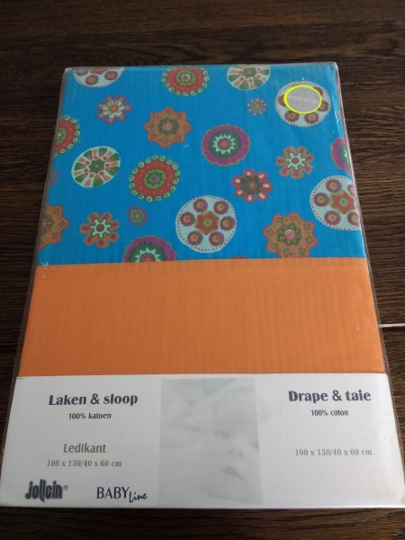 Jollein Ledikantlaken en Sloop (100x150 cm) oranje/blauw